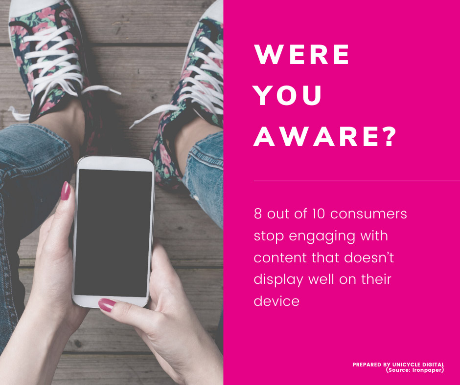Infographic – 8 out of 10 consumers stop engaging with content that doesn't display well on their device (source: Ironpaper)