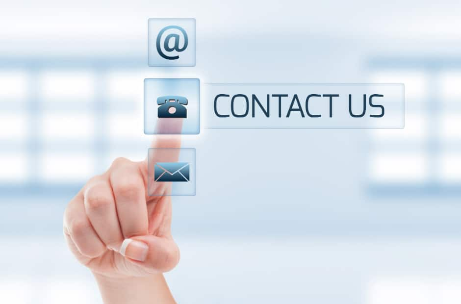 "Finger tapping ""Contact Us"" button"